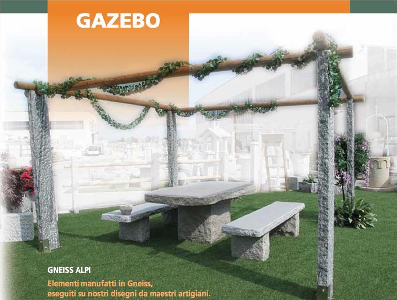 Gazebo Con Tavolo E Panche.Gazebo Tavolo E Panche In Pietra Gneiss Alpi